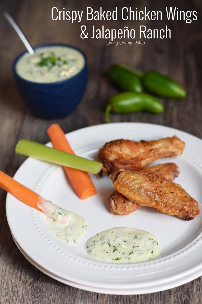 Crispy Baked Chicken Wings & Jalapeño Ranch Dressing