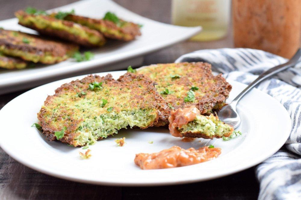 Broccoli Fritters with Sun Dried Tomato Aioli