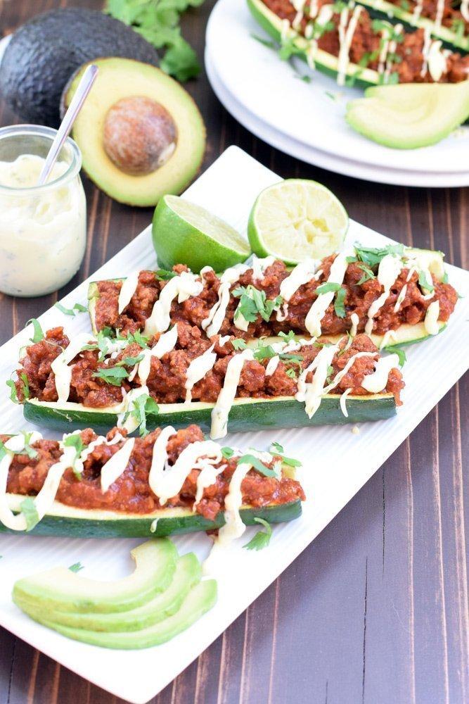Enchilada Stuffed Zucchini Boats