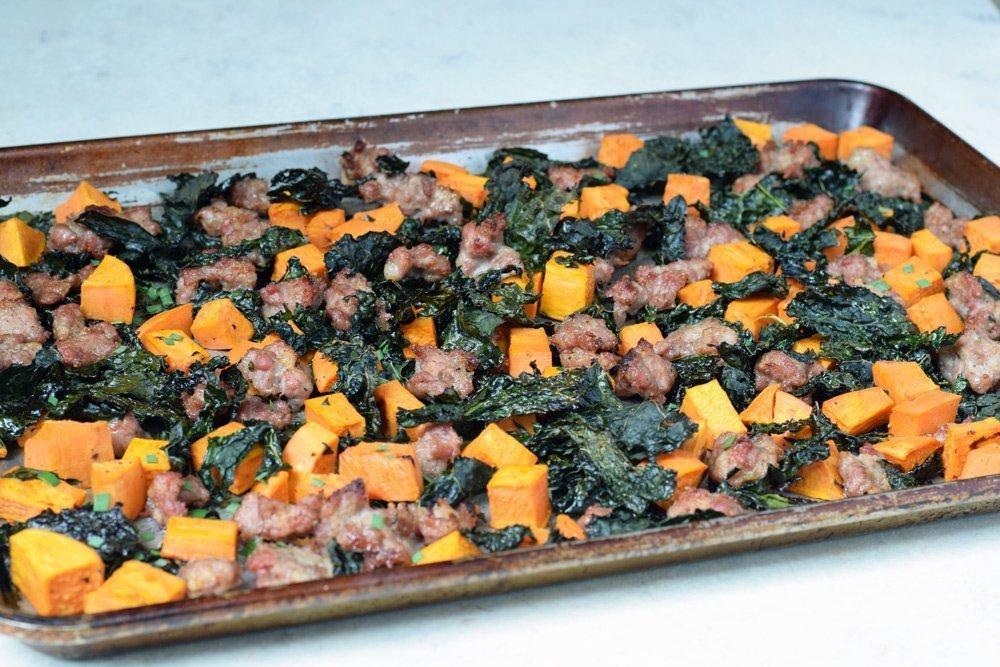 Sausage, Sweet Potato & Kale Bake