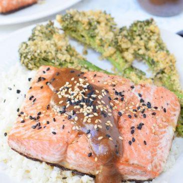 salmon topped with Teriyaki sauce and sesame seeds