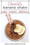 creamy chocolate shake topped with bananas